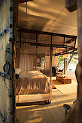 Guest room at Chinzombo Safari Lodge, Luangwa River Valley, Zambia, Africa