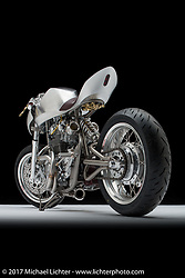 """""""Manta"""", a XS650 Yahama cafe racer built by Jay Donovan of BareSteel Designs in Victoria, British Columbia. Photographed by Michael Lichter in Sturgis, SD on August 4 2017. ©2017 Michael Lichter."""
