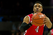 DALLAS, TX - JANUARY 21: Myles Mack #4 of the Rutgers Scarlet Knights shoots a free-throw against the SMU Mustangs on January 21, 2014 at Moody Coliseum in Dallas, Texas.  (Photo by Cooper Neill/Getty Images) *** Local Caption *** Myles Mack
