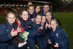 Bristol Academy fans have their photo taken with Bristol Academy Womens manager, Dave Edmondson - Photo mandatory by-line: Dougie Allward/JMP - Mobile: 07966 386802 - 13/11/2014 - SPORT - Football - Bristol - Ashton Gate - Bristol Academy Womens FC v FC Barcelona - Women's Champions League