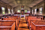 An HDR image of the interior of the Kealii O Ka Malu Church in Haleiwa