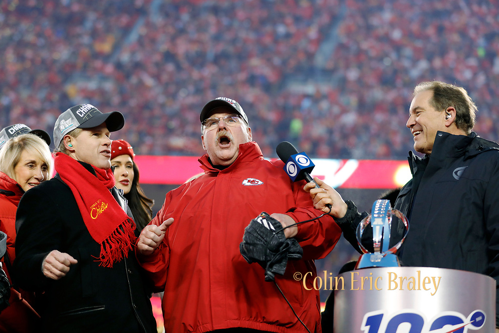 Kansas City Chiefs owner Clark Hunt, left, and head coach Andy Reid, center, celebrate winning the NFL AFC Championship football game against the Tennessee Titans Sunday, Jan. 19, 2020, in Kansas City, MO. The Chiefs won 35-24 to advance to Super Bowl 54. (AP Photo/Colin E. Braley) Colin Eric Braley Photography