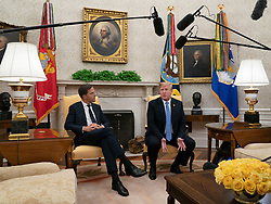 United States President Donald J. Trump speaks during a meeting with the Prime Minster of The Netherlands, Mark Rutte, at The White House in Washington, DC, July 2, 2018. Credit: Chris Kleponis / Abaca
