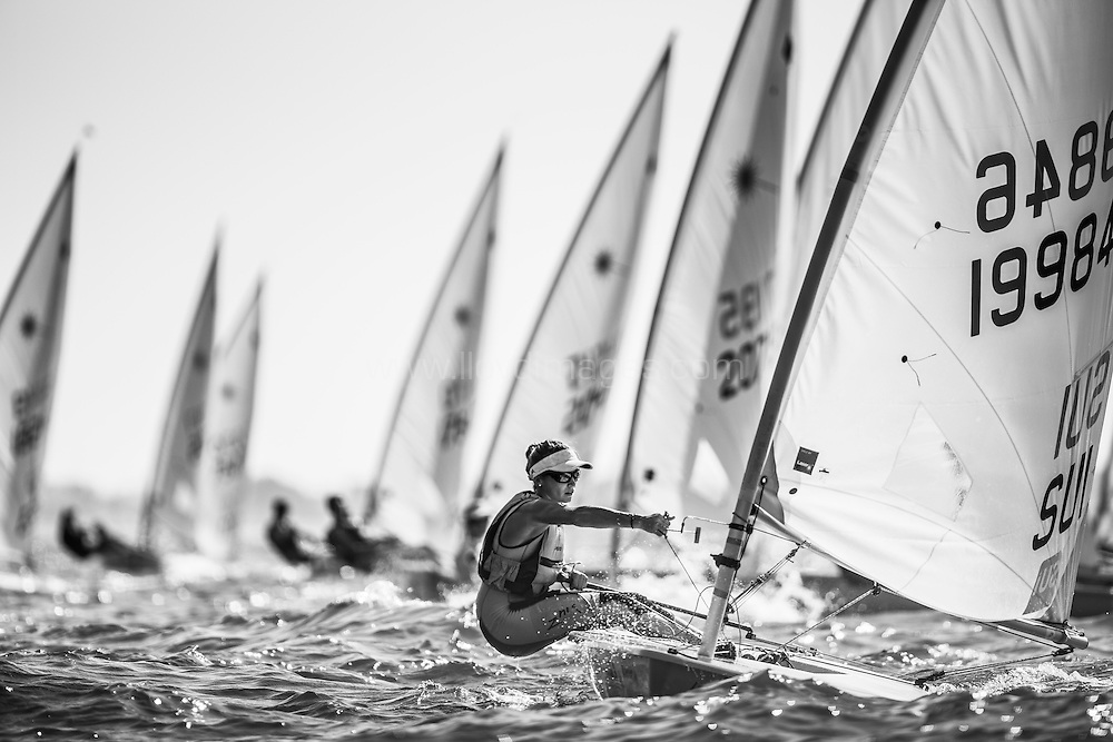 The 2015 Laser Women's Radial World Championship. Mussanah. Oman. November 18-26 November. Day 1 of racing Maud Jayet (SUI)<br /> <br /> Image licensed to Lloyd Images