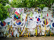09 JUNE 2018 - IMJINGAK, PAJU, SOUTH KOREA: The gate to Freedom Bridge, where POWs returned by North Korea, reentered South Korea after the ceasfire near the northernmost point on the South Korean side of the Korean DMZ in Imjingak. Imjingak is a park and greenspace in South Korea that is farthest north most people can go without military authorization. The park is on the south bank of Imjin River, which separates South Korea from North Korea and is close the industrial park in Kaesong, North Korea that South and North Korea have jointly operated.     PHOTO BY JACK KURTZ