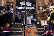 Campaigners protesting the closure by Lambeth council of Carnegie Library in Herne Hill, south London remain inside the premises on day 3 of its occupation, 3rd April 2016. The angry local community in the south London borough have occupied their important resource for learning and social hub for the weekend. After a long campaign by locals, Lambeth have gone ahead and closed the library's doors for the last time because they say, cuts to their budget mean millions must be saved. A gym will replace the working library and while some of the 20,000 books on shelves will remain, no librarians will be present to administer it.