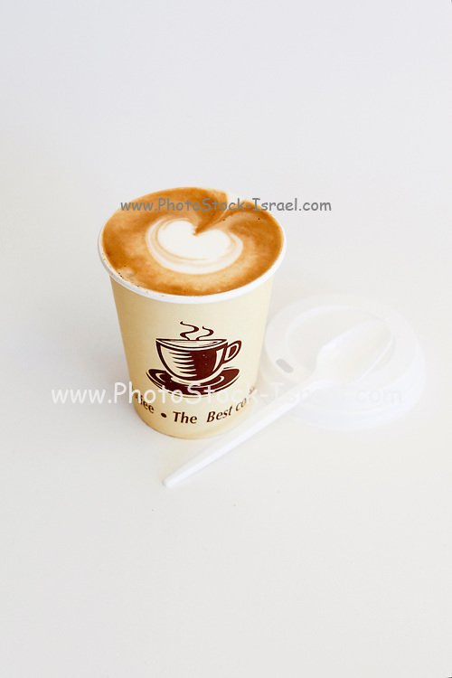 Cappuccino Takeaway in disposable cup On white background
