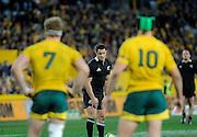 Dan Carter takes an penalty kick, Rugby Championship. Australia v All Blacks at ANZ Stadium, Sydney, New Zealand. Saturday 18 August 2012. New Zealand. Photo: Richard Hood/photosport.co.nz