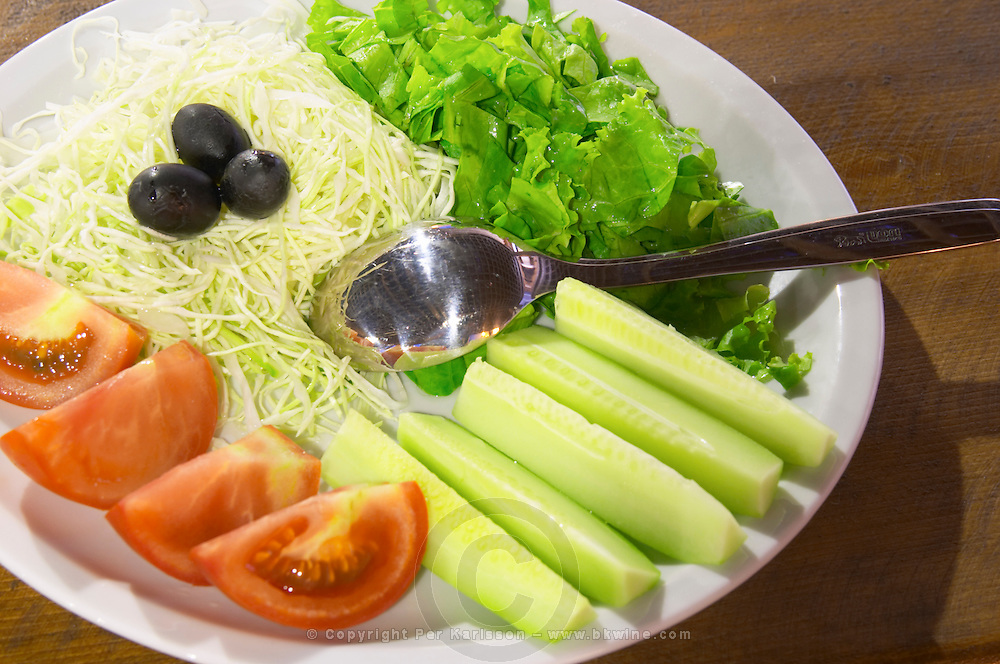 Salad with tomatoes, cucumbers, lettuce. Hercegovina Produkt winery, Citluk, near Mostar. Federation Bosne i Hercegovine. Bosnia Herzegovina, Europe.