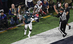 February 4, 2018 - Minneapolis, MN, USA - Philadelphia Eagles running back Corey Clement (30) celebrates after scoring a touchdown on a 22-yard pass in the third quarter against the New England Patriots on Sunday, Feb. 4, 2018 at U.S. Bank Stadium in Minneapolis, Minn. (Credit Image: © Elizabeth Flores/TNS via ZUMA Wire)
