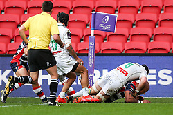 Tom Varndell of Bristol Rugby scores a try - Rogan Thomson/JMP - 11/12/2016 - RUGBY UNION - Ashton Gate Stadium - Bristol, England - Bristol Rugby v Pau - European Rugby Challenge Cup.