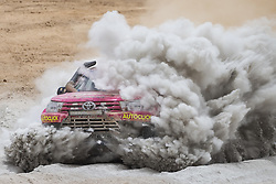 AREQUIPA, Jan. 11, 2019  Andrea Patricia Lafarja Bittar of Paraguay and co-driver Eugenio Arrieta of Argentina compete during the 4th stage of the 2019 Dakar Rally Race, near La Joya, Arequipa province, Peru, on Jan. 10, 2019. (Credit Image: © Xinhua via ZUMA Wire)