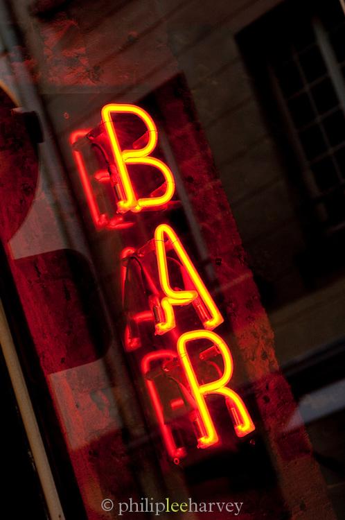 Neon Bar sign in Paris, France