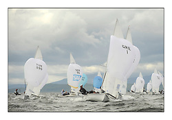 470 Class European Championships Largs - Day 3.Brighter conditions with more wind..Men, Fleet, Downwind, GRE1, Antonis TSIMPOUKELIS, Pavlos KAGIALIS .