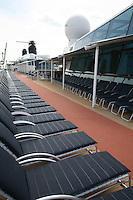 Celebrity Silhouette. Celebrity cruises' new ship launched in Hamburg 21st July 2011..Interior feature photos..Sun Deck with runn.ing track.