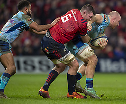 January 19, 2019 - Limerick, Ireland - Matt Kvesic of Exeter tackled by Peter O'Mahony of Munster during the Heineken Champions Cup match between Munster Rugby and Exeter Chiefs at Thomond Park in Limerick, Ireland on January 19, 2019  (Credit Image: © Andrew Surma/NurPhoto via ZUMA Press)