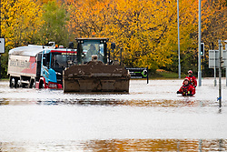 South Yorkshire flooding. Ickles Roundabout Rotherham. Specialist rescue teams from the West Midlands Fire service rescue peopl from vehicles and business premises along the A6178<br /> <br />  Copyright Paul David Drabble<br />  07 November 2019<br />  www.pauldaviddrabble.co.uk