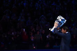 November 12, 2017 - London, United Kingdom - Rafael Nadal of Spain celebrates after he is given the Emirates ATP year end World Number One trophy after a presentation to him on the first day of the Nitto ATP World Tour Finals at O2 Arena, London on November 12, 2017. (Credit Image: © Alberto Pezzali/NurPhoto via ZUMA Press)