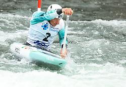 Luka Bozic of Slovenia competes during the Canoe Single (C1) men race in Semifinal of European Open Canoe Slalom Cup on April 18, 2021 in Tacen, Ljubljana, Slovenia. Photo by Vid Ponikvar / Sportida