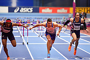 Andrew Pozzi (GBR) (centre) dips for the line on his way to winning gold in the Mens 60m Hurdles Final in a seasons best time of 7.46 during the final session of the IAAF World Indoor Championships at Arena Birmingham in Birmingham, United Kingdom on Saturday, Mar 2, 2018. (Steve Flynn/Image of Sport)