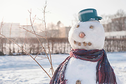 Snowman on snow field