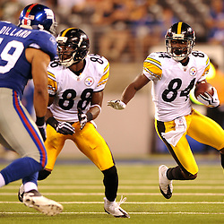 21 Aug, 2010: Pittsburgh Steelers wide receiver Antonio Brown (84) evades defenders during second half NFL preseason action between the New York Giants and Pittsburgh Steelers at New Meadowlands Stadium in East Rutherford, New Jersey. The Steelers beat the Giants 24-17.