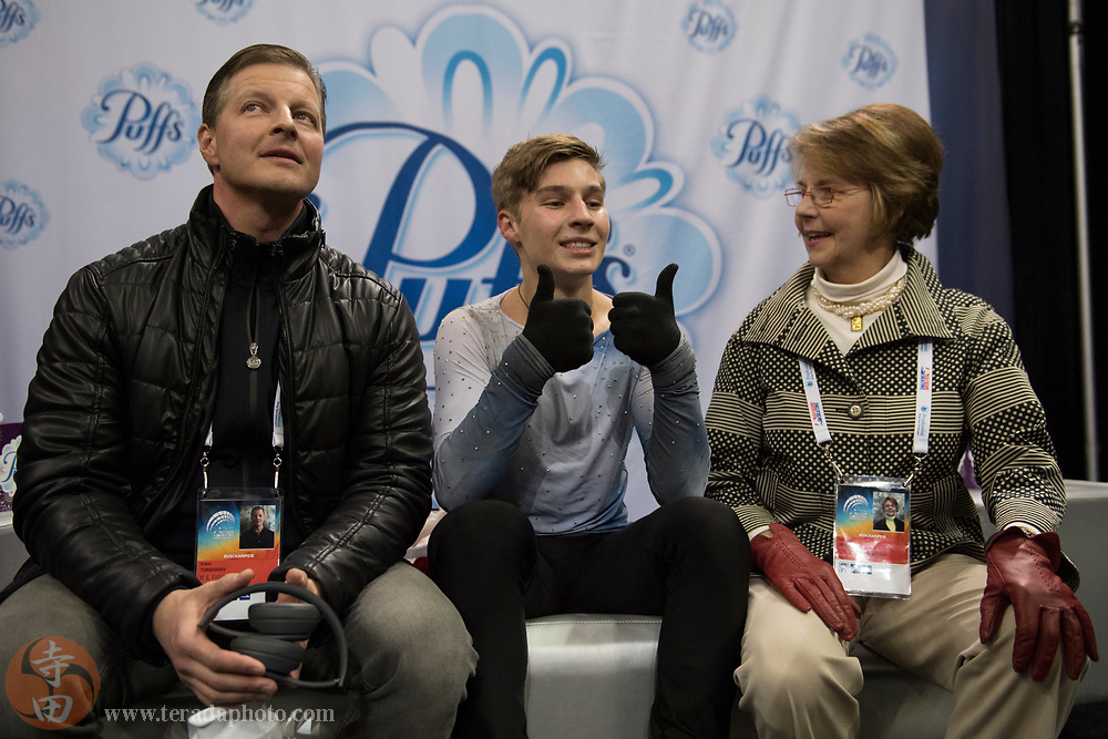 January 4, 2018; San Jose, CA, USA; Andrew Torgashev in the kiss and cry after skating in the mens short program during the 2018 U.S. Figure Skating Championships at SAP Center.