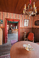 Dining room of the American Hotel, built in 1871 at Cerro Gordo, a mining community in the Inyo Mountains near Keeler, California