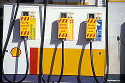 Fuel crisis - petrol station with no fuel & sorry out of use signs on pumps; Shell garage; Whitley Bay; Tyneside UK 2000