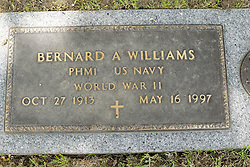 31 August 2017:   Veterans graves in Park Hill Cemetery in eastern McLean County.<br /> <br /> Bernard A Williams PHM1 US Navy World War II Oct 27 1913 May 16 1997<br /> <br /> PHM1 - Pegasus class hydrofoil