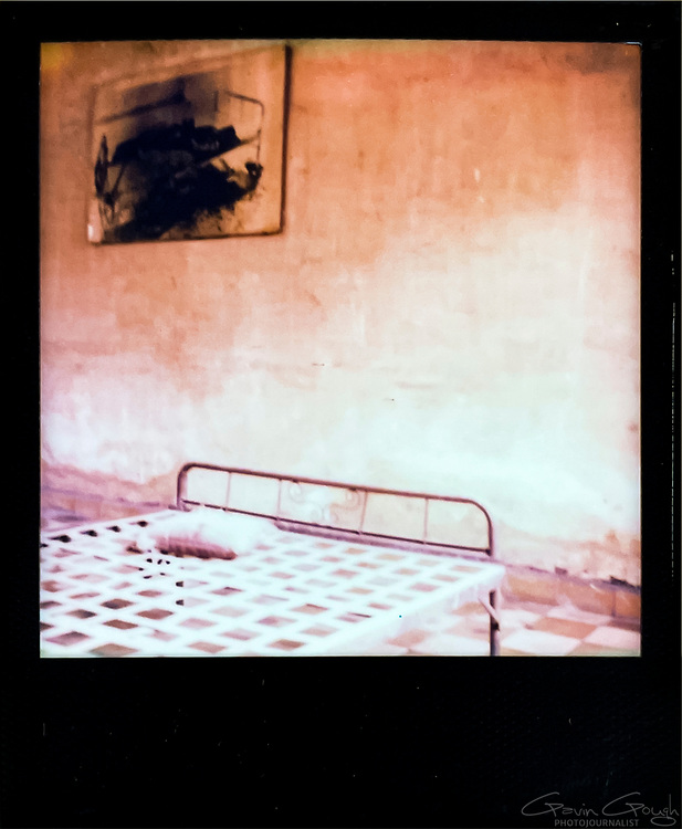 Interior of an interrogation room, Tuol Sleng S-21 Genocide Museum, Cambodia
