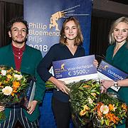 NLD/Hilversum/20181213 - Uitreiking Philip Bloemendal Prijs 2018, winnares Saskia Houttuin samen met genomineerden Sahil Amar Aïssa en Charlotte Nijs