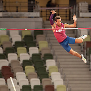 TOKYO, JAPAN August 3:    KC Lightfoot of the United States goes clear during the Pole Vault Final for Men at the Olympic Stadium during the Tokyo 2020 Summer Olympic Games on August 3rd, 2021 in Tokyo, Japan. (Photo by Tim Clayton/Corbis via Getty Images)