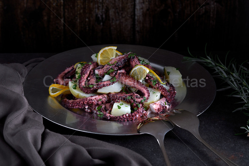 Octopus and potato salad on stainless plate photographed in dark setting. Sold exclusively through Stockfood.com
