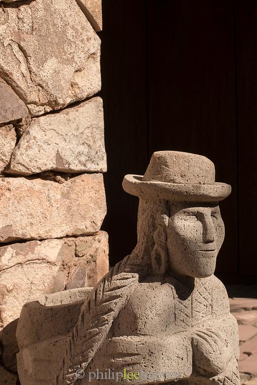 Close up of carved stone statue, Licanabur Volcano, San Pedro De Atacama, Chile