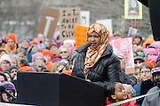 Augusta, Maine, USA. 21st Jan, 2017.  Fatuma Hussein, founder of Immigrant Resource Center of Maine, addresses the  Women's March on Maine rally in front of the Maine State Capitol. The March on Maine is a sister rally to the Women's March on Washington.