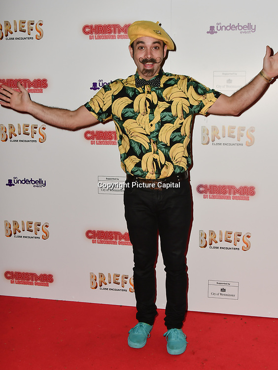 Mr Banana attends Briefs: Close Encounters - press night an All-male 'Boylesque' group show off their circus skills, drag acts and raucous comedy routines at The Spiegeltent Leicester Square on 14 November 2018, London, UK.