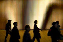 Visitors inside new Tokyo National Art Center in Roppongi Tokyo Japan Modern architecture at Tokyo National Art Center in Roppongi in central Tokyo