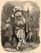 (William) Wilkie Collins (1824-1889) English novelist.  His best works, among which is 'The Woman in White' (1860), are in the sub-genre of the Sensation Novel.  Cartoon by Edward Linley Sambourne in the Punch's Fancy Portraits series from 'Punch' (London, 14 January 1882).