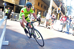 JOHANNESBURG, SOUTH AFRICA – AUGUST 13: Julius Cobbet leans into a corner during the Helivac Melrose Arch Criterium race on 13 August 2017 in Johannesburg, South Africa. Cyclists competed in a criterium race hosted at the popular Merose Arch, criterium racing takes place on short course within a closed circuit. The racing is hotly contested over a number of laps as riders jostle for posistion. (Photo by Dino Lloyd)
