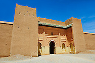 Entrance and fortifications of the  Alaouite Ksar Fida built by Moulay Ismaïl the second ruler of the Moroccan Alaouite dynasty ( reigned 1672–1727 ). Residence of the Khalifa or Caid of Tafilalet until 1965. Tafilalet Oasis, near Rissini, Morocco .<br /> <br /> Visit our MOROCCO HISTORIC PLAXES PHOTO COLLECTIONS for more   photos  to download or buy as prints https://funkystock.photoshelter.com/gallery-collection/Morocco-Pictures-Photos-and-Images/C0000ds6t1_cvhPo<br /> .<br /> <br /> Visit our ISLAMIC HISTORICAL PLACES PHOTO COLLECTIONS for more photos to download or buy as wall art prints https://funkystock.photoshelter.com/gallery-collection/Islam-Islamic-Historic-Places-Architecture-Pictures-Images-of/C0000n7SGOHt9XWI