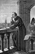 Roger Bacon (c1214-92) English experimental scientist, philosopher and Franciscan (Grey Friar); called 'Doctor Mirabilis'. Bacon in his observatory at the Franciscan monastery, Oxford, England. Artist's impression 1867. Engraving