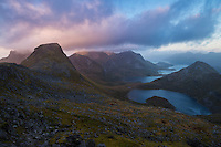 Evening light over Branntuva and surrounding mountain landscape from the summit of Markan (602m), Moskensøy, Lofoten Islands, Norway