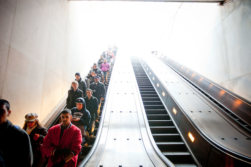 """Locals participate in the 4th annual """"No Pants"""" Metro ride on Sunday, Jan. 9, 2011 in Washington."""