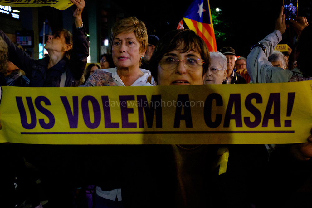 Us volem a casa! We want you home - in Catalan. More than 4000 people take to the streets of Sant Cugat del Valles, a town outside Barcelona, to protest the heavy sentences handed down by Spanish Supreme Court to Catalan politicians for alleged sedition, including local resident Raul Romeva, on October 14 2019, following the October 1 2017 independence referendum. Protests took place all across Catalonia today, including blocking of major road and rail routes, and the city's airports, following the ruling.. Protests took place all across Catalonia today, including blocking of major road and rail routes, and the city's airports, following the ruling.