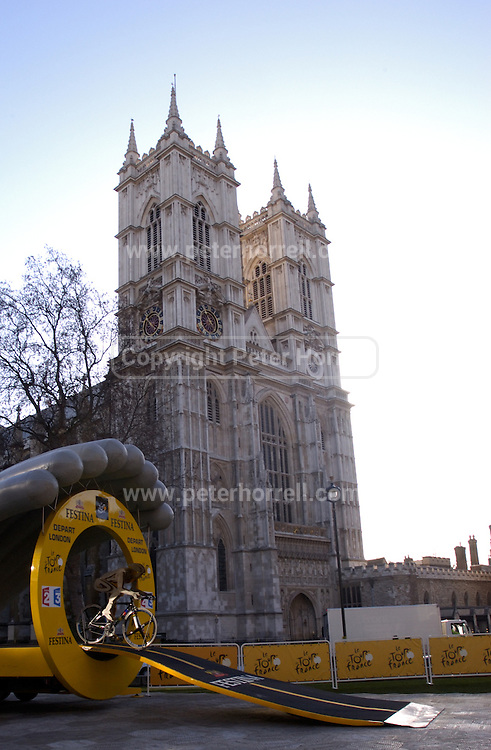 The Tour de France is coming to London in 2007. A Tour de France time trial start gate stands outside Westminster Abbey at the announcement of the route on Thursday 9th February, 2006.