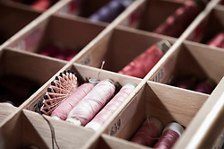 Reels of sewing threads in box, Bavaria, Germany