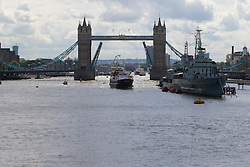 London Bridge, London, June 15th 2016. A flotilla of fishing boats led by UKIP's Nigel Farage heads through Tower Bridge in protest against the EU's Common Fisheries Policy and in support of Britain leaving the EU. PICTURED: Trawlers enter the Pool of London through Tower Bridge.