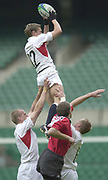 IRB World Sevens Series - Twickenham<br /> England vs Canada - Pool B<br /> England's Nick Duncombe, is hoisted high above the Canadian line as England start the pool B game against Canada.<br /> Photo Peter Spurrier<br /> 24/05/2002<br /> Sport - Rugby Union<br />    [Mandatory Credit, Peter Spurier/ Intersport Images]<br />    [Mandatory Credit, Peter Spurier/ Intersport Images]