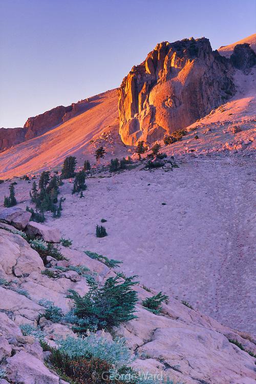 Sunset Glow on Lassen Peak, Lassen Volcanic National Park, California